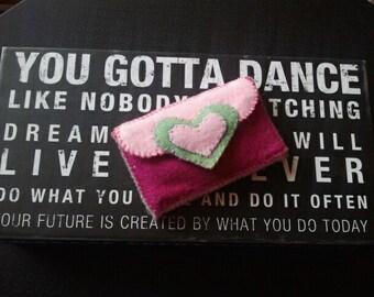 Handmade Felt Business Card Holder - Pink and Green