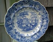 Early English Blue Transfer Ware Plate - Parisian Chateau - Ralph Hall - England - Blue And White - Antique Collectible - Wedding Gift - R