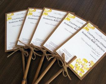 Hawaiian Tropical Yellow Phalaenopsis Orchid Destination Beach Wedding Program Fan Natural Bamboo Stick Handle