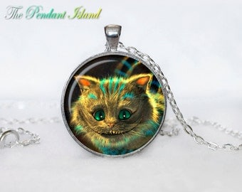Cheshire Cat PENDANT Cheshire Cat NECKLACE   Cheshire Cat Jewelry Necklace for him  Art Gifts for Her