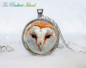 OWL PENDANT   owl necklace White owl Jewelry Necklace for him  Art Gifts for Her Art (P10010)