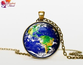 EARTH Necklace solar system jewelry planet earht pendant earth jewelry  Galaxy necklace universe pendant for men blue planet