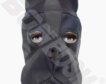 bdsm black DOG mask hood with silicone mouth gag, leather fetish bondage gimp mask hood, Mature