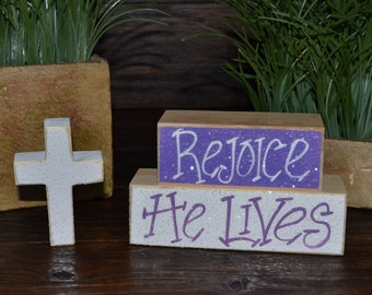 Religious easter etsy easter block set personalized wood block love set home decor primitive block gift holiday negle Gallery