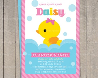 Duck Baby Shower Invitation / Rubber Duck Baby Shower invitation / Rubber Duck Invitation / Pink Rubber Duck Invitation