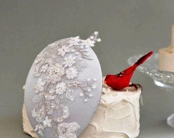 Bridal Flower Hat ,Wedding Mini Hat beaded flower lace Embellishment Bridal Hair accessories,Wedding bridal Fascinator,wedding headpiece