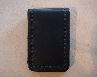Handmade Black Leather Magnetic Money Clip