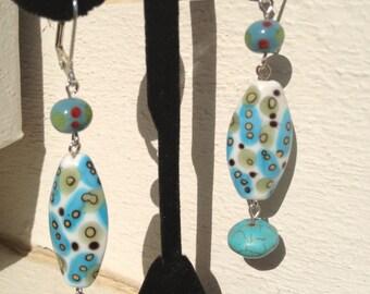 Dangling Ocean Blue Patterned Earrings