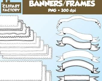 Clip Art: Hand Drawn Banners, Frames, Borders, Headers - 20 Fun Decorative Banners