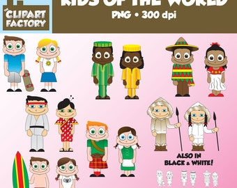Clip Art: Kids of the World - 2 characters from each continent