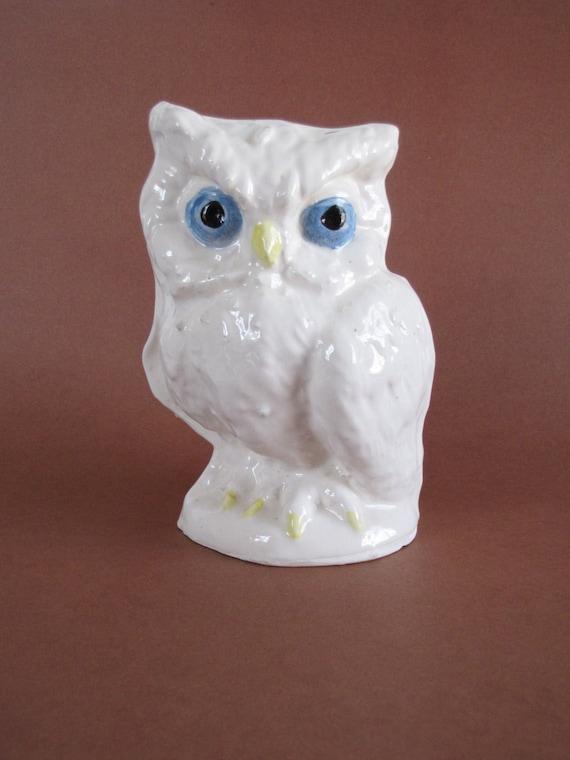 vintage white ceramic owl figurine bank by bertasaccessories