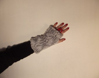 Small reversible faux fur mittens