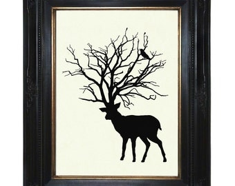 Silhouette Deer Stag Art Print Tree Antlers Woodland Raven Victorian Steampunk Art Print Raven Crow