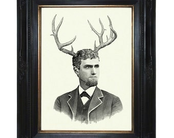 Gentleman with Antlers Art print Deer Stag Victorian Steampunk Art Print Portrait Surrealism