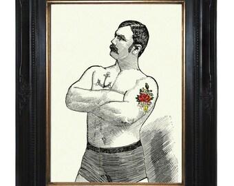 Valentine's Day Tattooed Strongman Art Print Gentleman Boxer Victorian Steampunk Circus