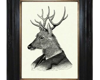 Deer Art print Gentleman Stag Portrait Antlers Victorian Steampunk Art Print Frock Woodland Animal