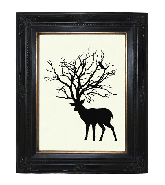 Silhouette Deer Tree Antlers Woodland Raven Victorian Steampunk art print