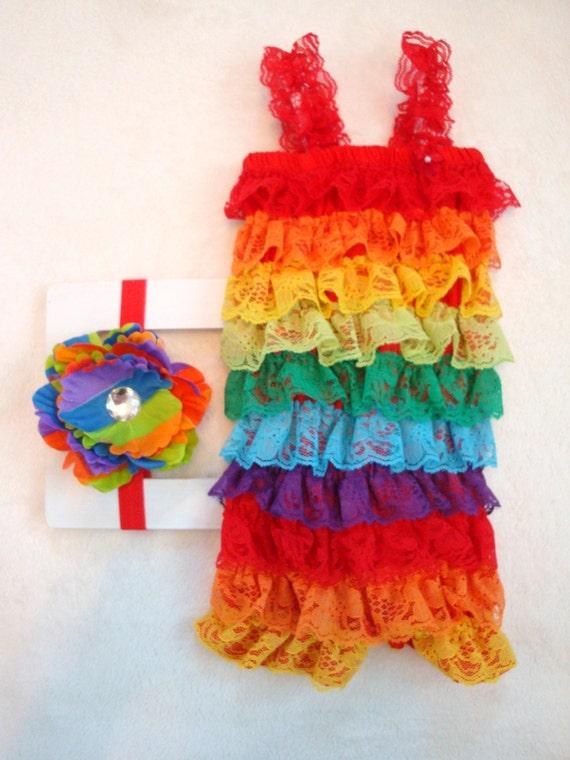 Rainbow Baby Rainbow Romper baby girl by LillyBowPeep on Etsy