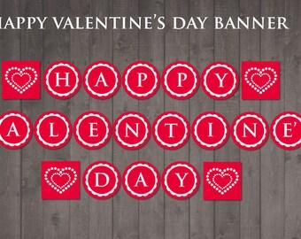 PRINTABLE 'happy valentine's day' banner - DIY valentine banner
