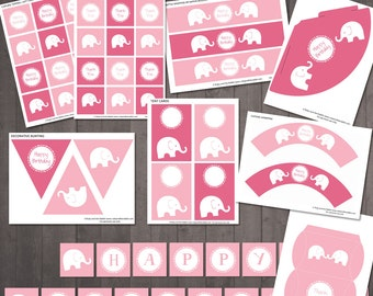 Pink Elephant Birthday Party Decorations - PRINTABLE Party Pack