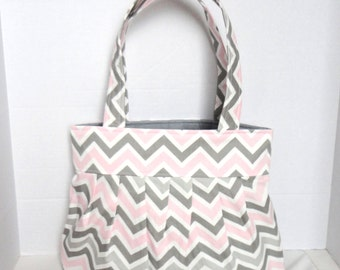 Chevron purse or diaper bag in pink and gray chevron print with option of zipper and/or bottle pockets