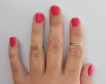 4 Above Knuckle Ring - 1 Micron Plain Band Knuckle Rings, 1Micron gold thin shiny rings - set of 4 midi rings, unique gift for her