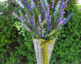 Distressed French Basket, Floral Arrangement, Purple, Greens, Foam Flowers, Spring