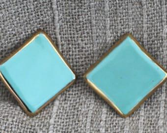 Clip earring  - ceramic turquoise, modern art design Annelies Zenichowski
