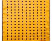 Polka Gold Pocket Square - Gold Yellow Purple Silk Polka Dots - Gift For Him - Wedding