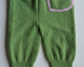 Medium green merino longies with hearts on the bum