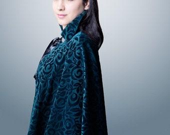 "Black Velvet Floral Design Cloak ""Opera"" Metal Clasp Black lace Seraphinite beads"