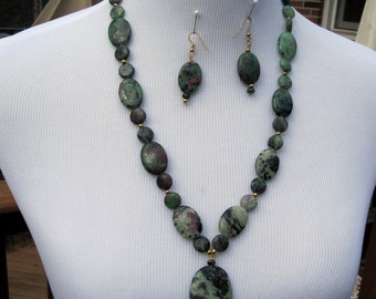 Ruby  Zoisite Necklace  Earrings