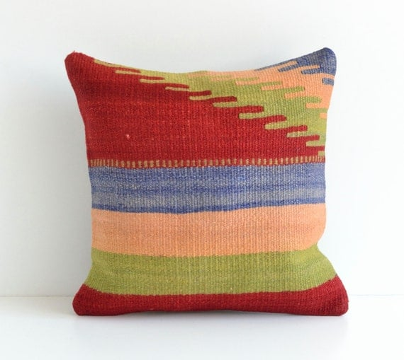 Modern Kilim Pillows : Kilim Throw Pillow 16x16 Modern Organic Hand Woven by pillowme