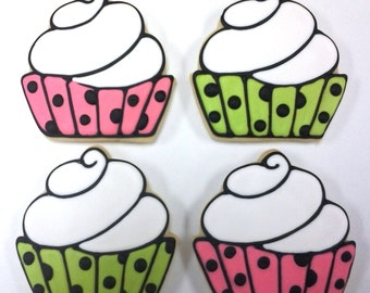 Cupcake Party Favor Cookies for Birthdays, Cupcake Cookies, Birthday Party Cookies, Personalized Birthday Cookies, Cute Cupcake Cookies