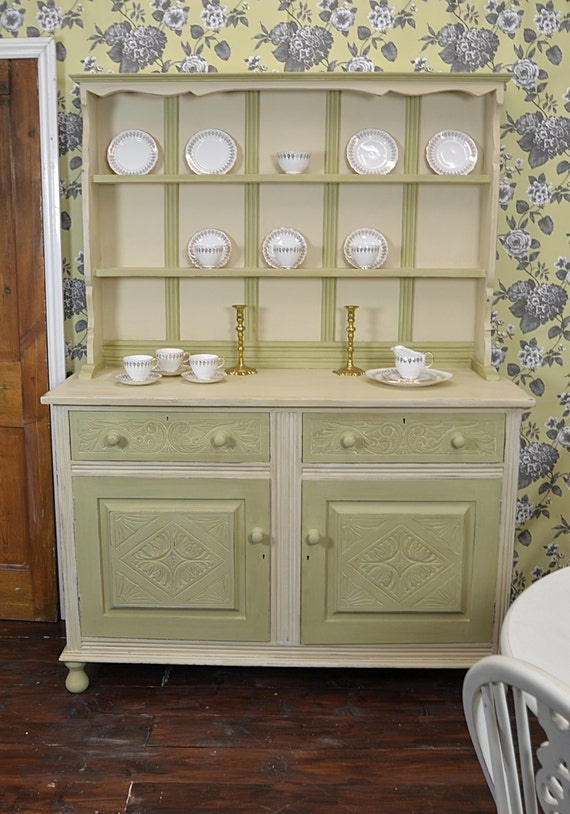 Items Similar To Shabby Chic Kitchen Welsh Dresser Display Cabinet FREE UK