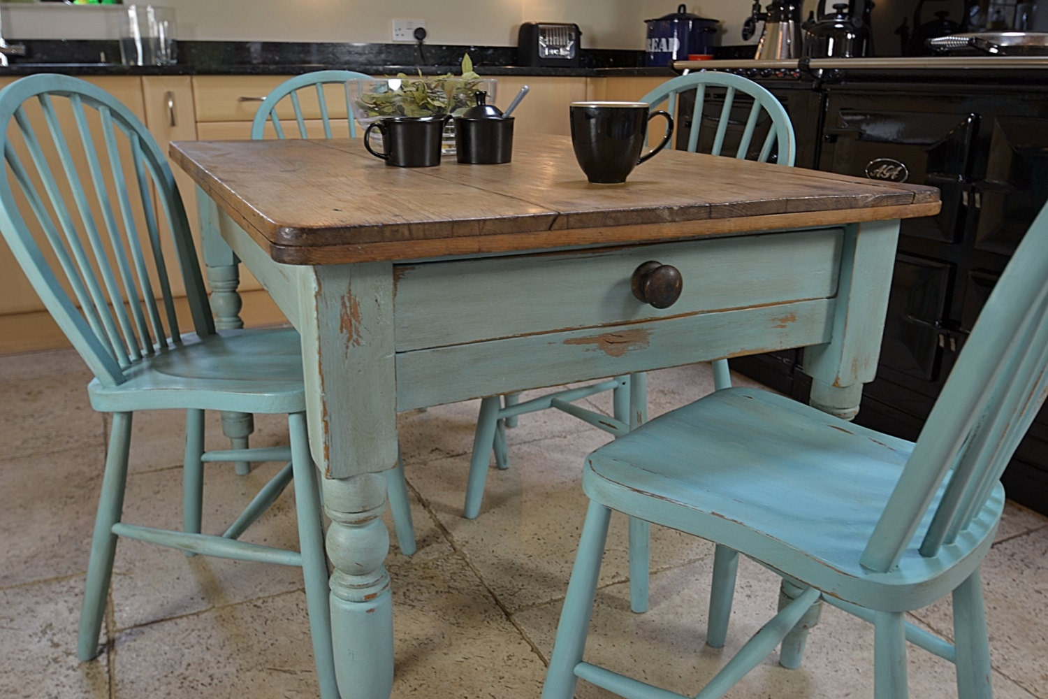 Shabby Chic Breakfast Table: Shabby Chic Farmhouse Rustic Dining Table With 4 Stickback