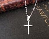 Extra fina plata Simple Cruz colgante, collar