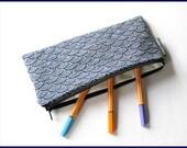 Federmäppchen pencil case japanische Welle Blau Seigaiha