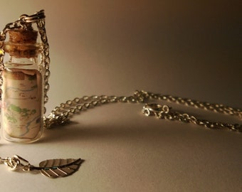 Winnie the Pooh Vial Necklace - Disney Inspired - Handmade, Corked Glass Bottle - 100 Acre Woods Map - Gold Leaf Charm
