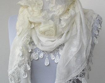 White Lace Scarf - Flower Rose Scarf - Cowl Scarf - Shawl Scarf- Wedding Bridal Scarf - 159