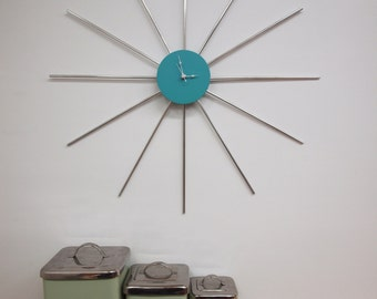 Retro Sunburst Clock as seen on DIY's Amish RENOgades (FREE SHIPPING)