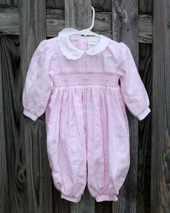 vintage baby clothes baby pink plaid smocked by