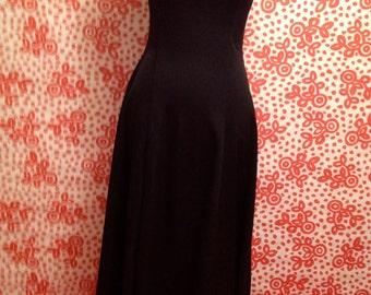 60's evening black  maxi dress