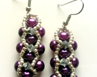Beaded earrings with 4mm swarovski crystals