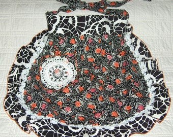 Apron, black and white spider web, cotton, touch of orange,vintage fabric, lacy trim