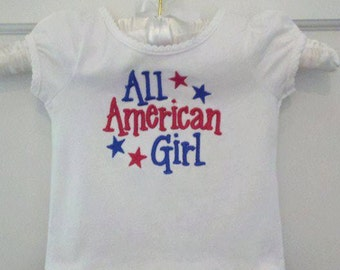All American Girl Tee Shirt with Blue Ruffle, Patriotic Spirit All Year