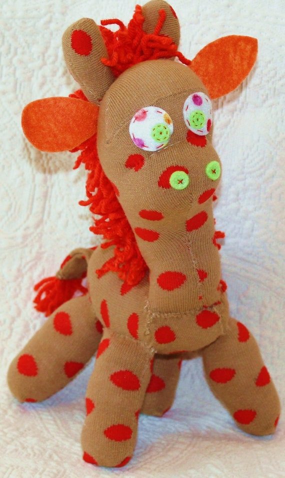 Handmade sock animal - stuffed animal - tan and orange polka dot sock giraffe