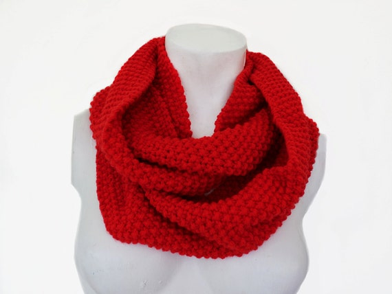 Chunky Infinity Scarf Knitting Pattern : Items similar to Red Knit Infinity Scarf, Chunky Knit Scarf, Red Knit Snood, ...