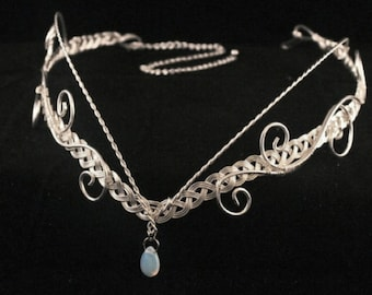 Medieval Renaissance circlet opalite Moonstone elven headpiece