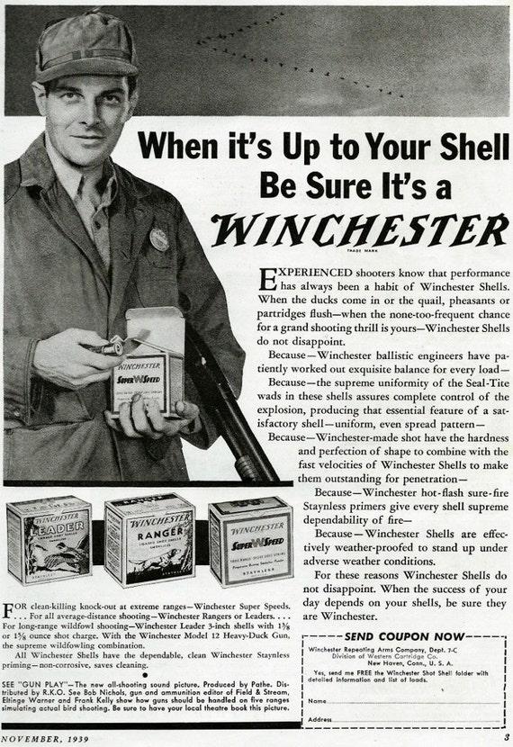 Vintage 1930 S Winchester Shotgun Shells Ad Pheasant